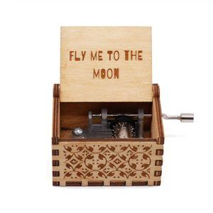 Wood Music Box Fly Me to the Moon Frank Sinatra